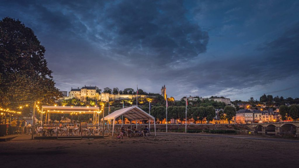The guinguette of Chinon on the banks of the Vienne river