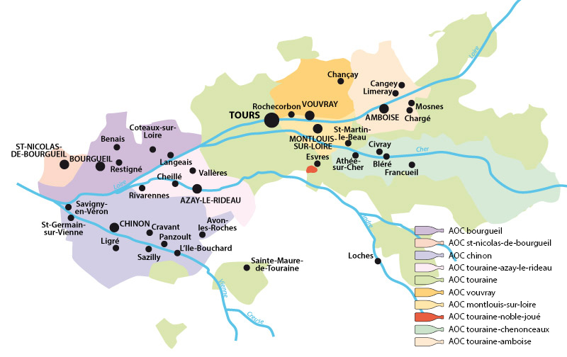 Map of the vineyards in Touraine