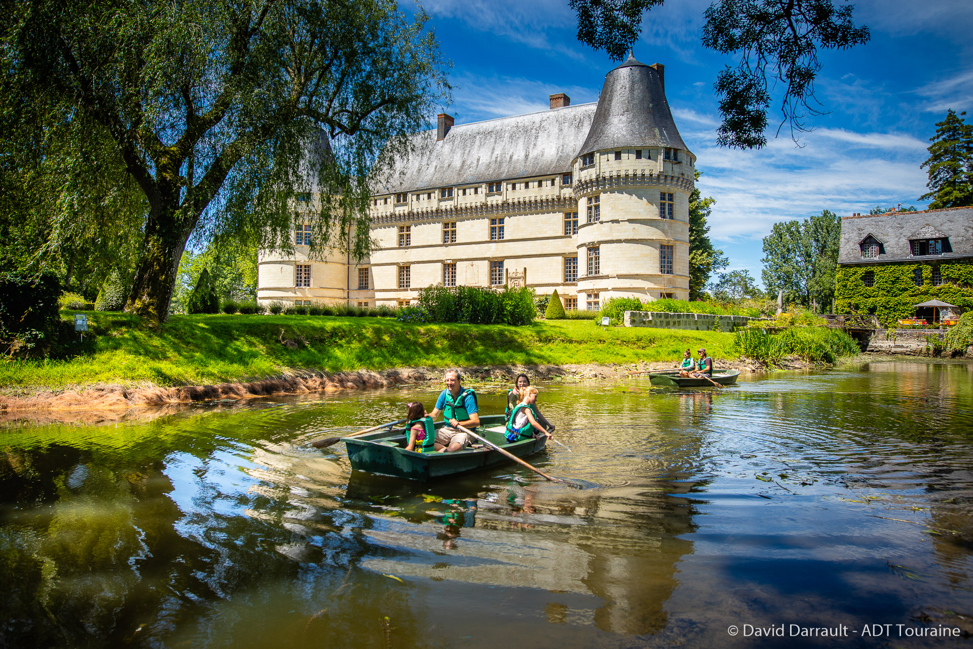 The beautiful french castle of L'Islette (in the town of Azay-le-Rideau), in the great collection of Loire Valley chateaux and near the motionless cruise on the Loire River.