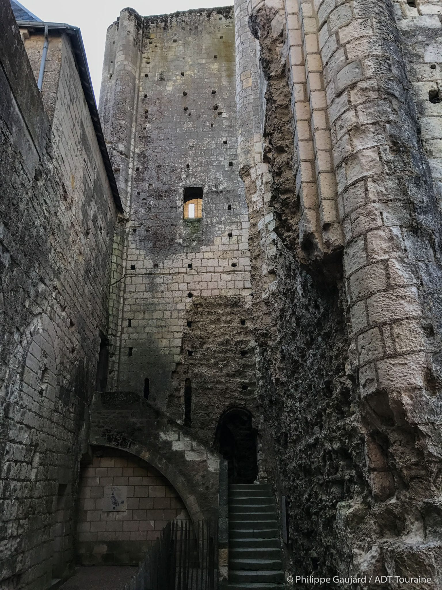 Keep of the chateau of Loches, near the Indre River and near the house of Lansyer. Holiday in Region Centre Val de Loire, France.