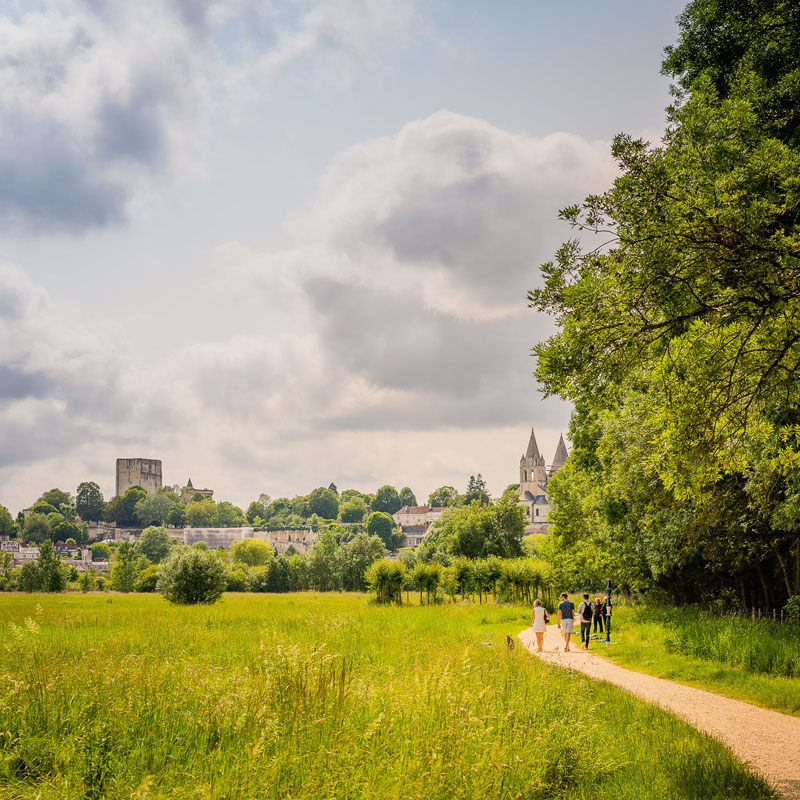 Les prairies du Roy (The king meadows), and the castle of Loches. Holiday in Region Centre Val de Loire, France.