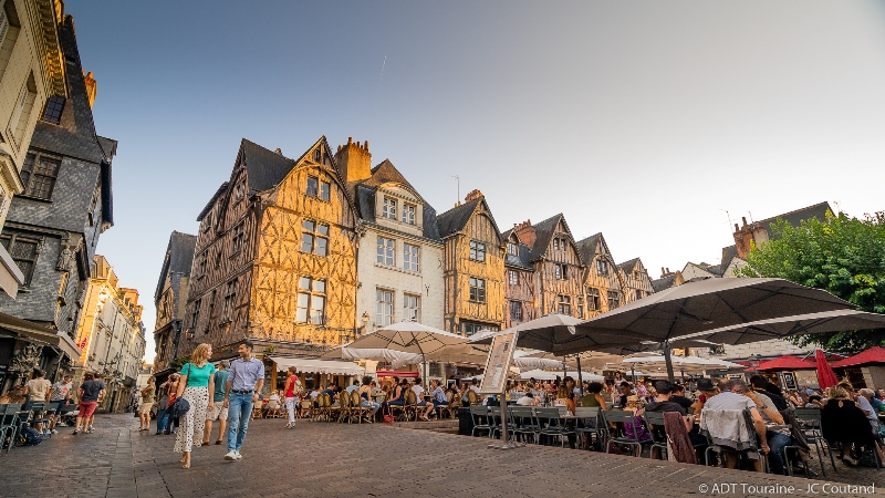 Encorbelled and timber-framed houses in the Plumereau square - Tours, France.
