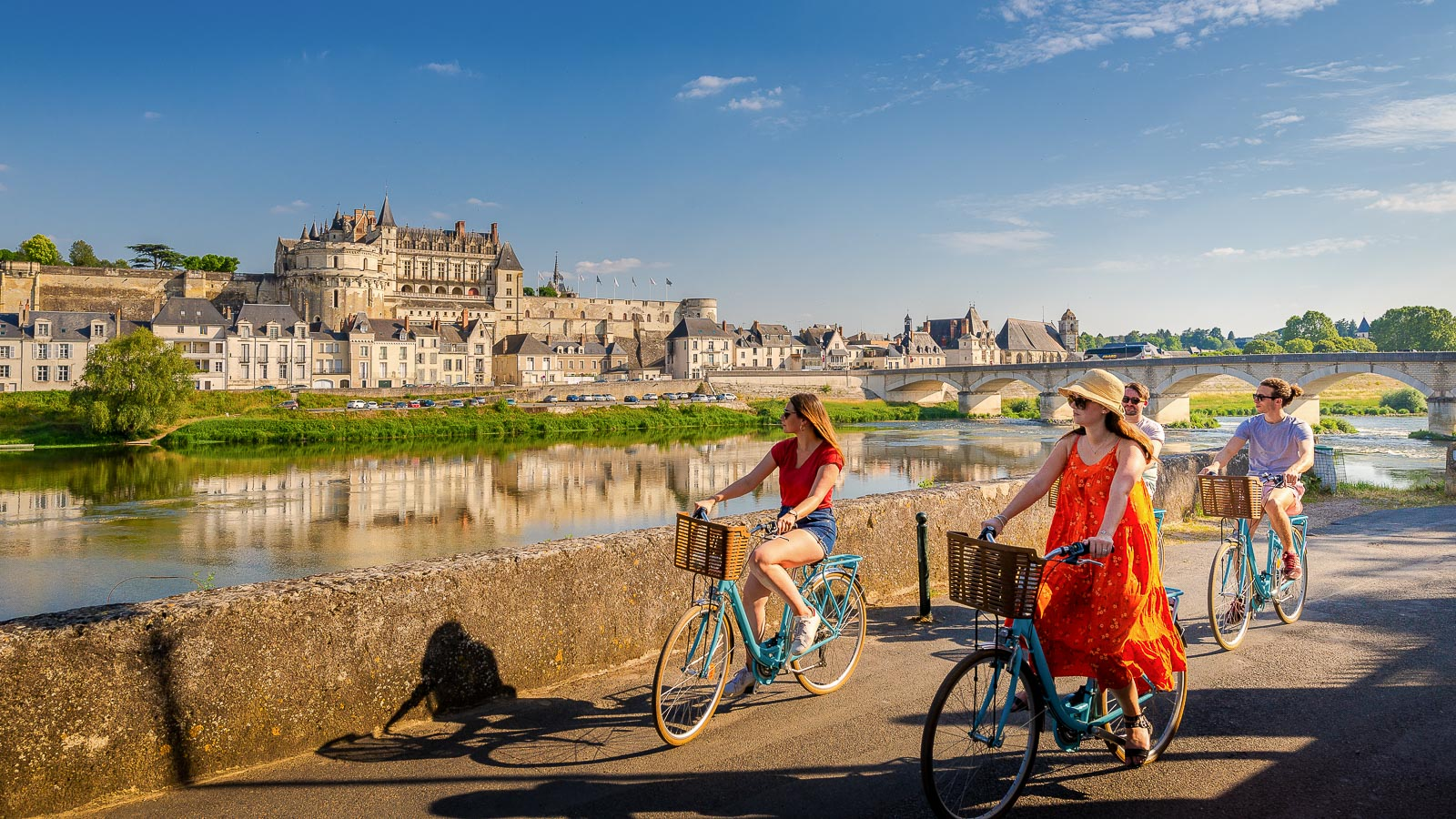Cycling the Loire by bike trail, in Amboise - Loire Valley, France.