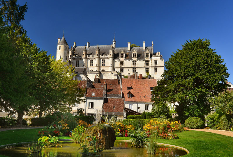 The public garden of Loches, from where you can see the royal city of Loches, near the village of Chédigny. Loire Valley, France
