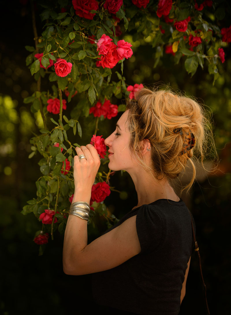 Smelling the delicate perfume of Chédigny roses