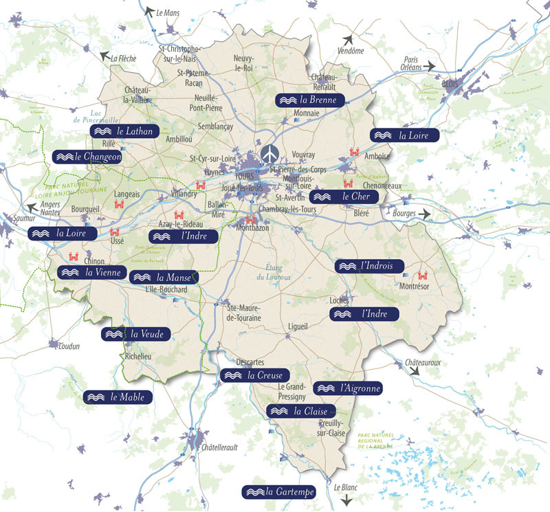 Map of Touraine rivers for a weekend's fishing in France.
