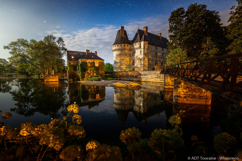 Sound and light show in L'Islette castle - Azay-le-Rideau, France.