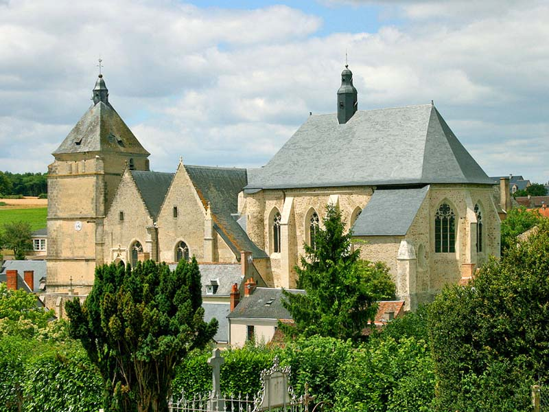Bueil collegiate church. Religious heritage in Loire Valley, France.