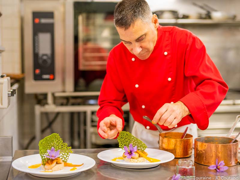 """Dishes with saffron at """"Au chapeau Rouge"""", in Chinon."""